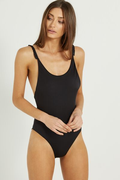 Mini Frill One Piece Cheeky, BLACK