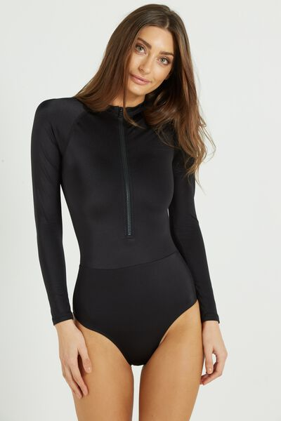 Beach Long Sleeve One Piece Full, BLACK