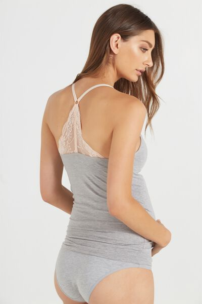 Maternity Soft Lace Racer Cami, BB GREY MARLE/SHELL