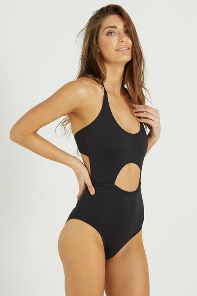 Neo Peek A Boo One Piece Cheeky, BLACK