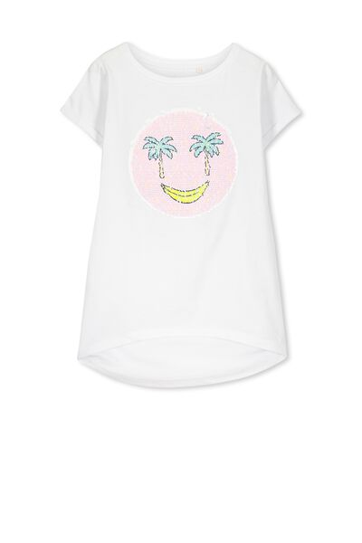 Gracie Ss Tee, WHITE/PALM FACE
