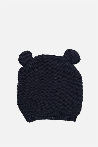 Baby Knit Beanie, INDIAN INK