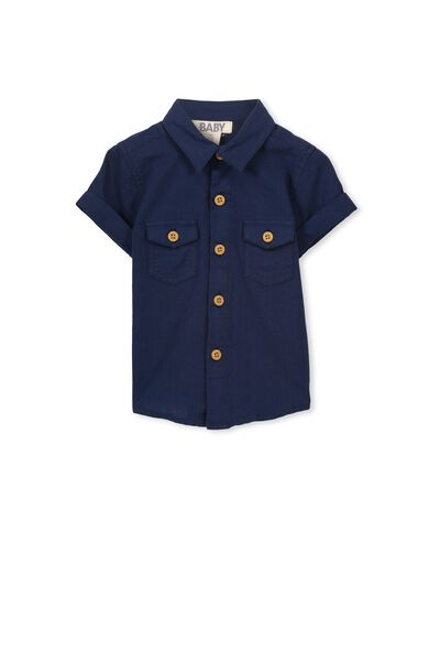 Zac Ss Shirt, MID CHAMBRAY BLUE