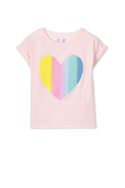 Penelope Short Sleeve Roll Up Tee, PORCELAIN PINK/RAINBOW HEART