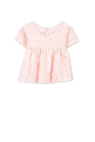Annalise Short Sleeve Top, SOFT PINK/FOIL HEART