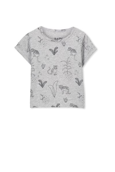 Michael Short Sleeve Tee, LT GREY MARLE/LEOPARD JUNGLE