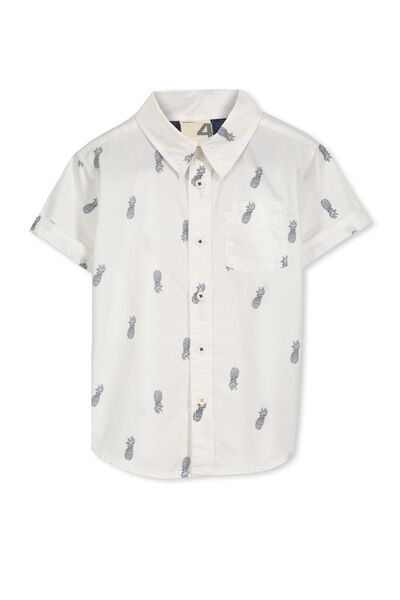Jackson S/Slv Shirt, WHITE/PINEAPPLES