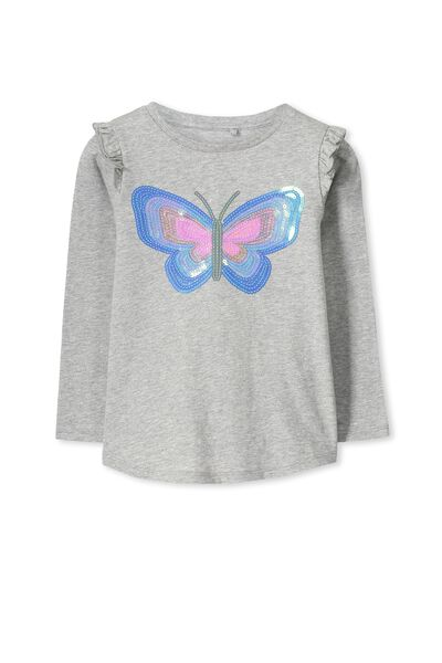 Anna Ls Flutter Sleeve, LIGHT GREY MARLE/REVERSIBLE SEQUIN BUTTERFLY