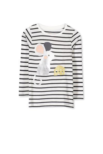Anna Long Sleeve Split Hem, VANILLA/PHANTOM LITTLE MOUSE