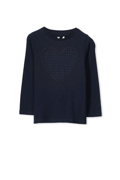 Anna Long Sleeve Split Hem, TWILIGHT BLUE/BRODERIE HEART