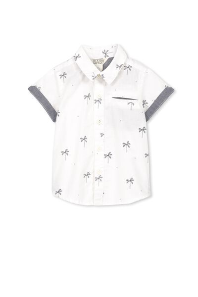 Zac Ss Shirt, VANILLA/PALM TREE