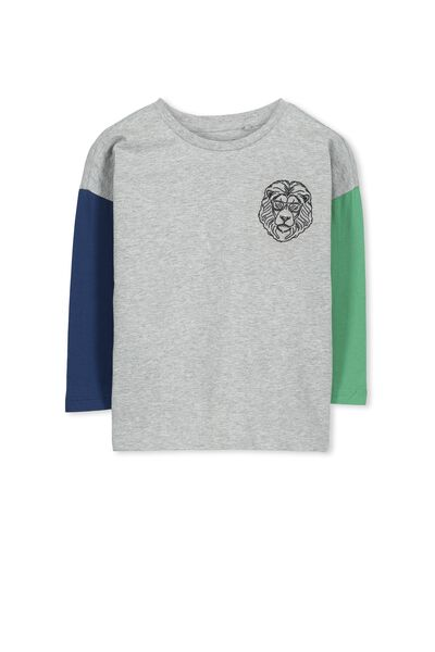 Will Ls Tee, GREY MARLE/LION EMB