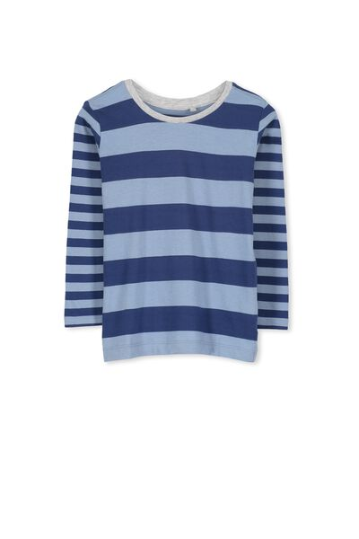 Tom Ls Tee, CHALK BLUE MULTI STRIPE