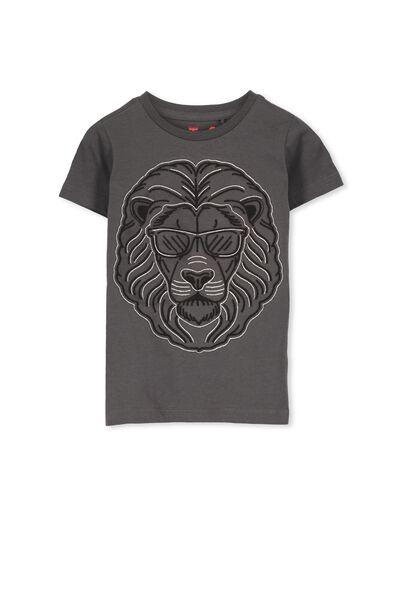 Max Short Sleeve Tee, LT GRAPHITE/LION EMB