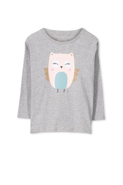 Penelope Long Sleeve Drop Shoulder Split Hem, LIGHT GREY MARLE/HAPPY OWL
