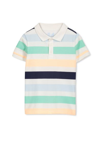 Kenny3 Polo, VANILLA/SUMMER STRIPE