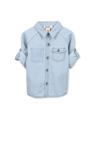 Zac Ls Shirt, LIGHT CHAMBRAY DENIM