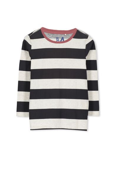 Tom Ls Tee, OATMEAL MARLE/PHANTOM STRIPE