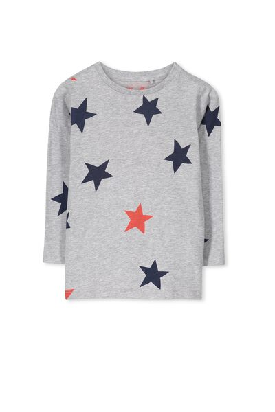 Tom Ls Tee, LT GREY MARLE/STARS