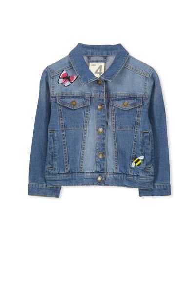 Dolly Embroidered Denim Jacket, MID BLUE/EMBROIDERY