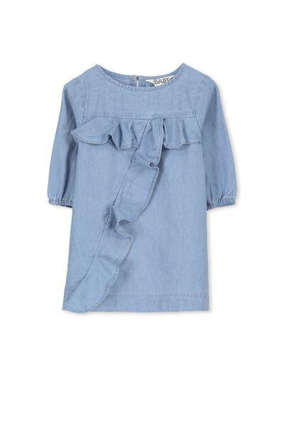 Annette Flutter Dress, BLUE CHAMBRAY