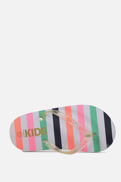 Printed Flip Flop, RETRO MULTI STRIPE G