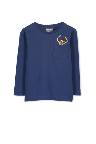Licence Long Sleeve Tee, CAPTAIN BLUE/ANIMAL POCKET