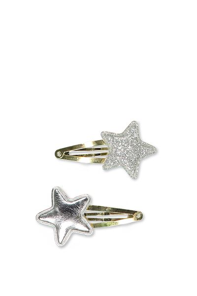 Party Hairclips, SILVER PADDED STAR