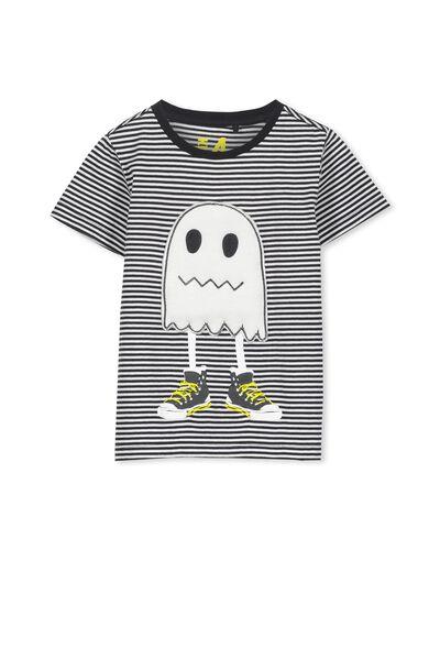 Boys Short Sleeve Halloween Tee, PHANTOM STRIPE/GHOST