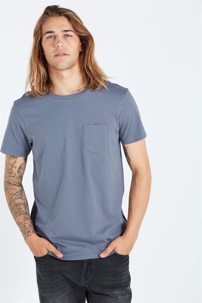 The Staple Tee, DUSTY BLUE/STRIPE BRONX