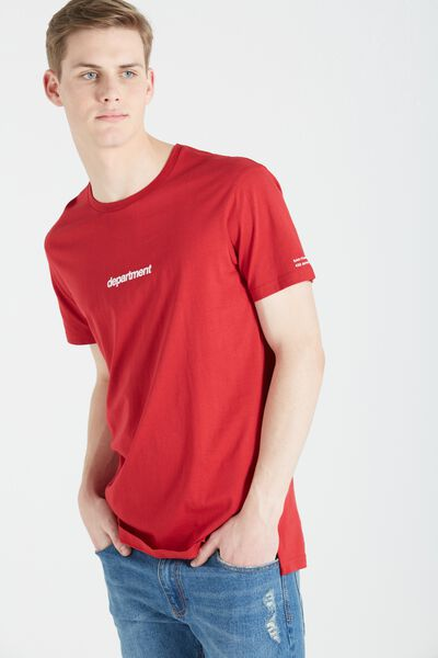 Ae Droptail Tee (Slim Fit), FIRE RED/DEPARTMENT BOX