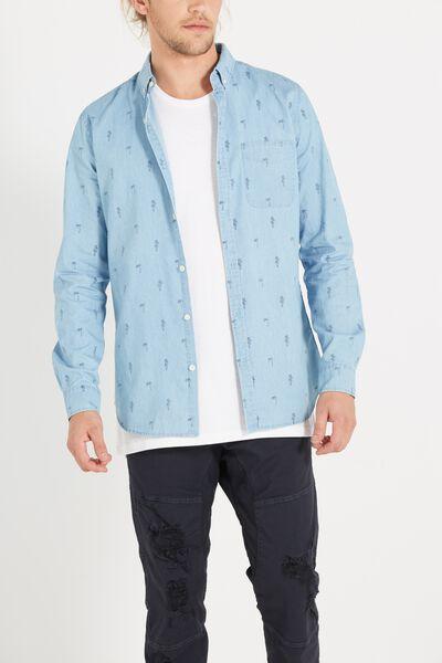 Brunswick Shirt 3, MID CHAMBRAY DITSY PRINT