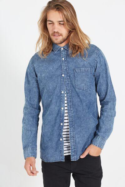 Vintage Long Sleeve Shirt, MID BLUE ACID WASH