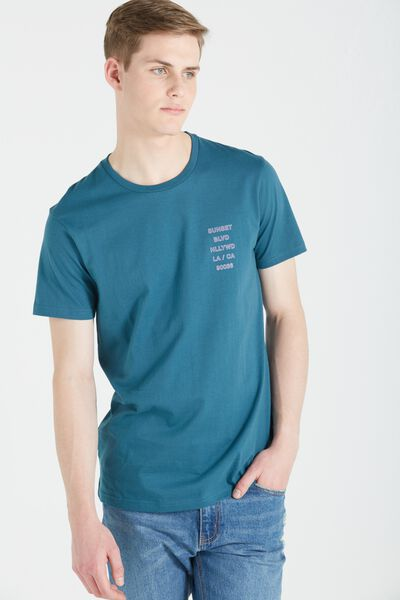 Ae Droptail Tee (Slim Fit), PETROL BLUE/SUNSET BLVD