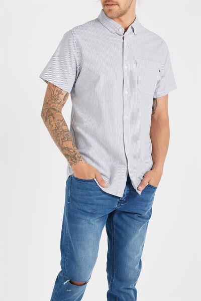 Vintage Prep Short Sleeve Shirt, NAVY FINE STRIPE