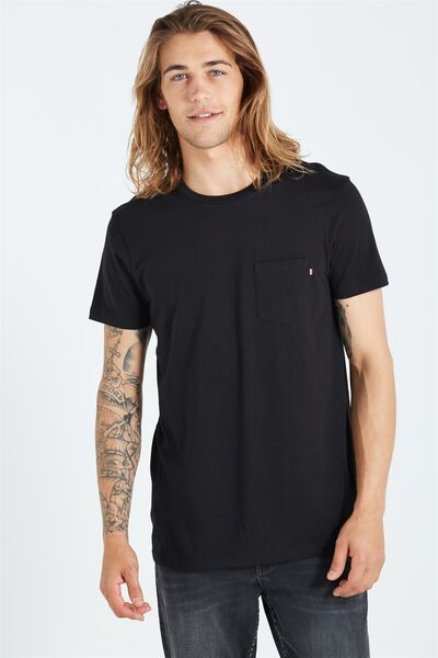 The Staple Tee, BLACK/STRIPE BRONX