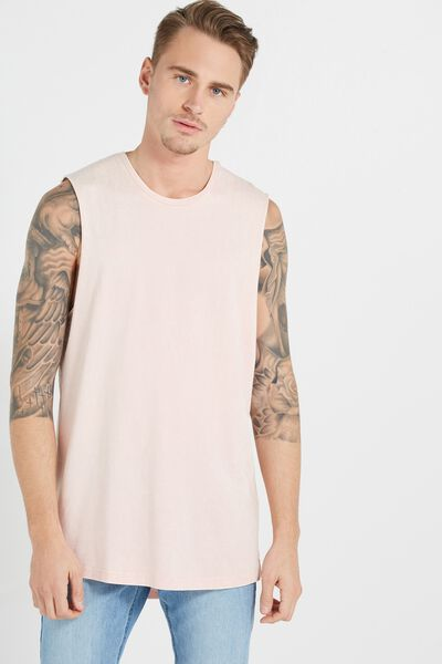 Tall Scoop Muscle, PALE PINK ACID WASH