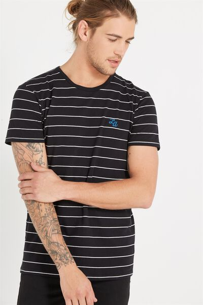 Icon Tee, BLACK/WHITE STRIPE/LA