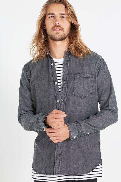 Vintage Long Sleeve Shirt, BLACK ACID WASH