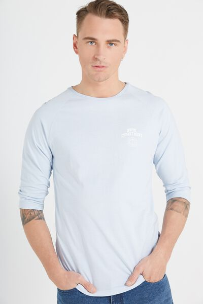 Tbar 3/4 Baseball Tee, TALC BLUE/TALC BLUE/NWYK DEPARTMENT