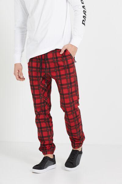 Drake Cuffed Pant, RED PUNK CHECK