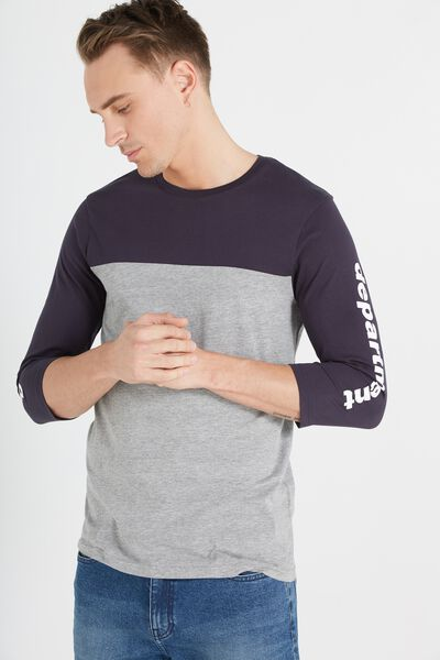 Tbar 3/4 Baseball Tee, GREY MARLE/INK NAVY/DEPARTMENT