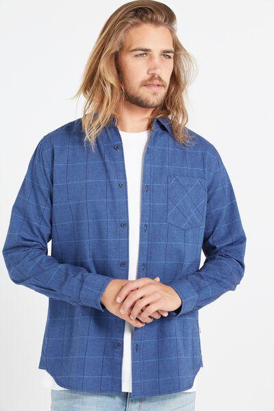 Vintage Long Sleeve Shirt, NAVY WINDOW CHECK