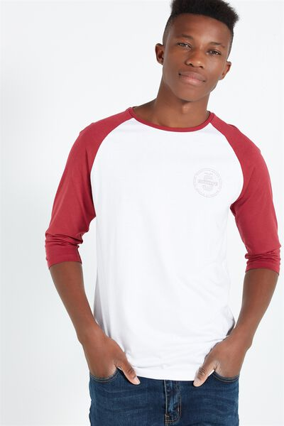 Tbar 3/4 Baseball Tee, WHITE/ROSEWOOD/NYC BOROUGHS