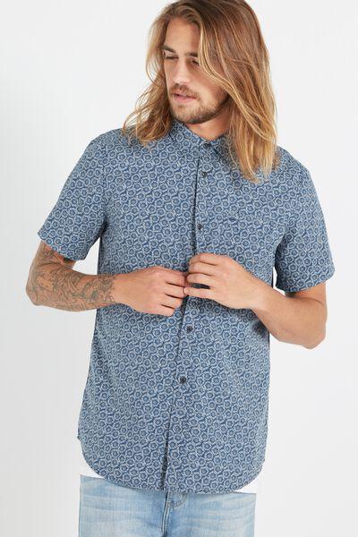 Sunset Short Sleeve Shirt, JAPANESE DITSY
