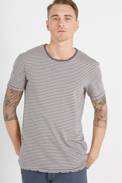 Trainwreck 91 Tee, BLUESTONE GREY/IVORY STRIPE