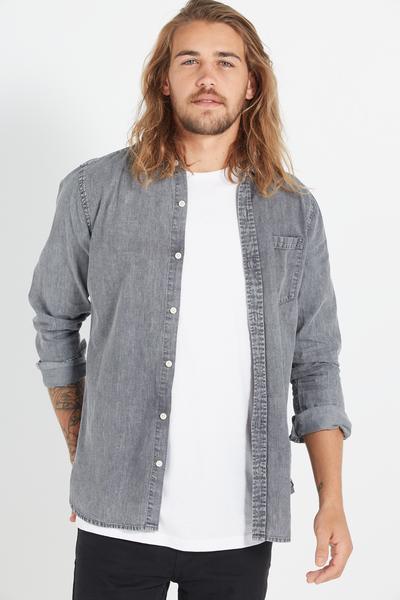 Vintage Long Sleeve Shirt, LIGHT GREY ACID WASH