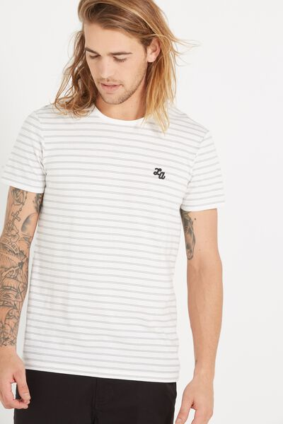Icon Tee, WHITE/GUNPOWDER GREY STRIPE/LA