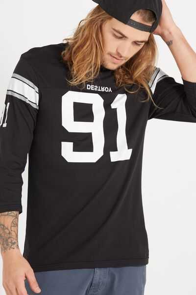 Tbar 3/4 Baseball Tee, BLACK/WHITE/GUNPOWDER GREY/DESTROY 91