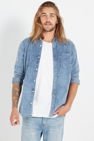 Vintage Long Sleeve Shirt, LIGHT BLUE ACID WASH